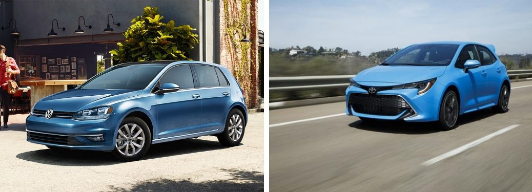 2019 Volkswagen Golf and 2019 Toyota Corolla image of both cars