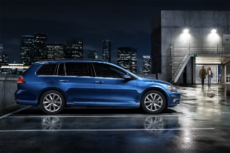 2019 Volkswagen Golf SportWagen parked at night