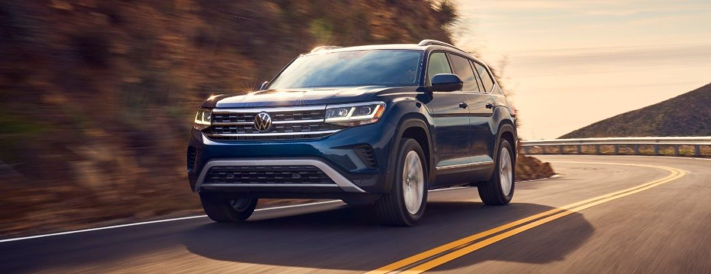 A photo of the 2021 Volkswagen Atlas SEL on the road.