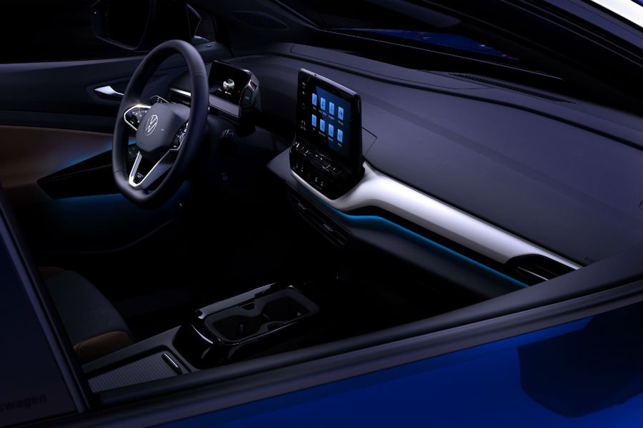A photo of the dashboard in the Volkswagen ID.4 taken from outside the vehicle.