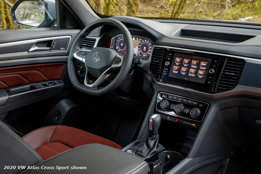 A photo of the infotainment system in the 2020 VW Atlas Cross Sport used for illustrative purposes only.