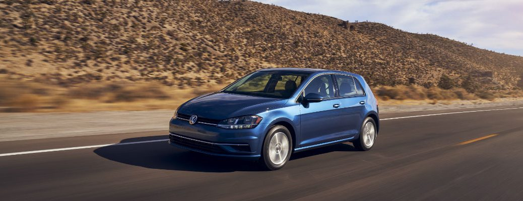A front left quarter photo of the 2021 Volkswagen Golf.