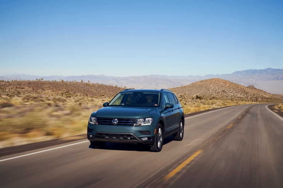 A head-on photo of the 2021 VW Tiguan on the road.