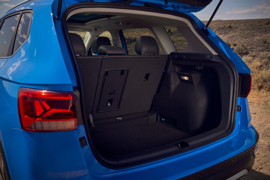 The cargo area in the back of the 2022 VW Taos.