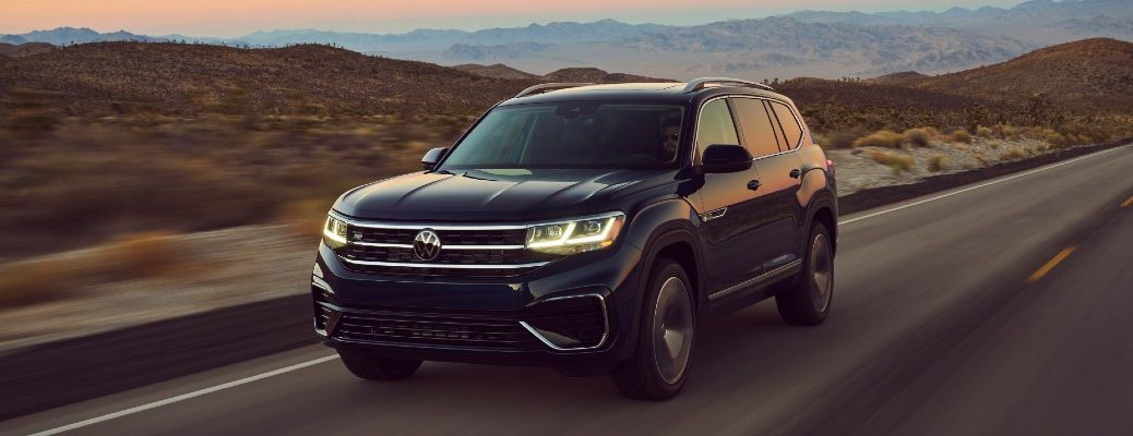 The 2021 Volkswagen Atlas in motion on a highway.