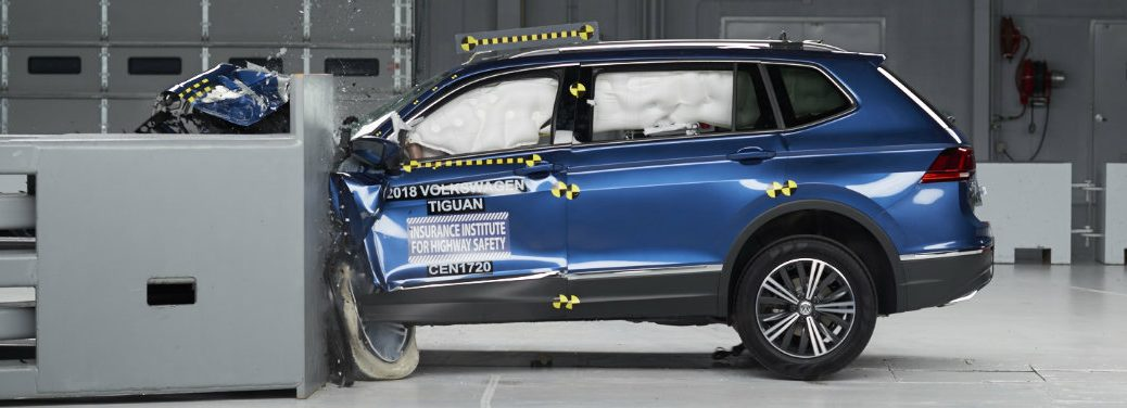 blue volkswagen tiguan crash test