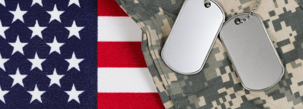 american flag, dog tags, digital camo