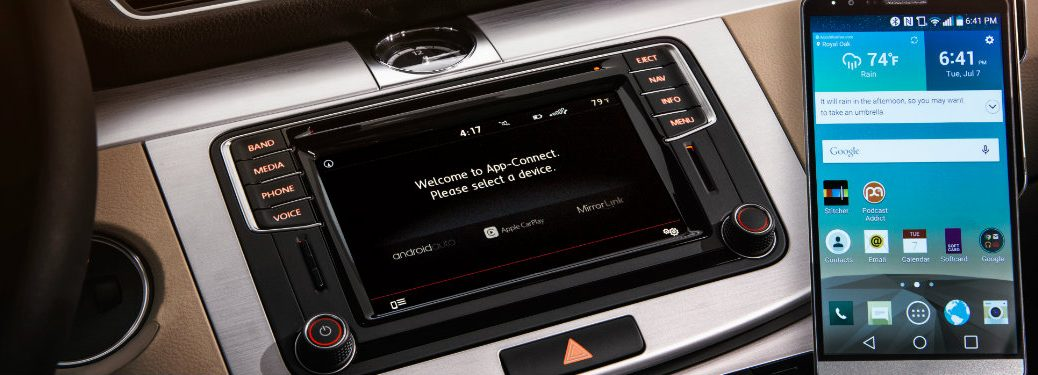 vw car net app connect screen and smartphone
