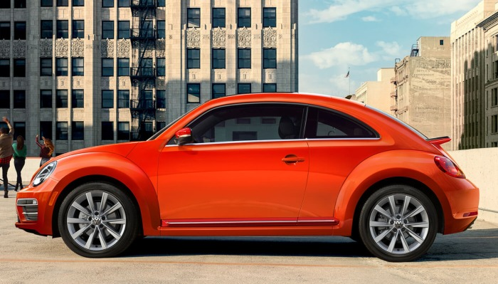 2019 Volkswagen Beetle parked on a parking ramp