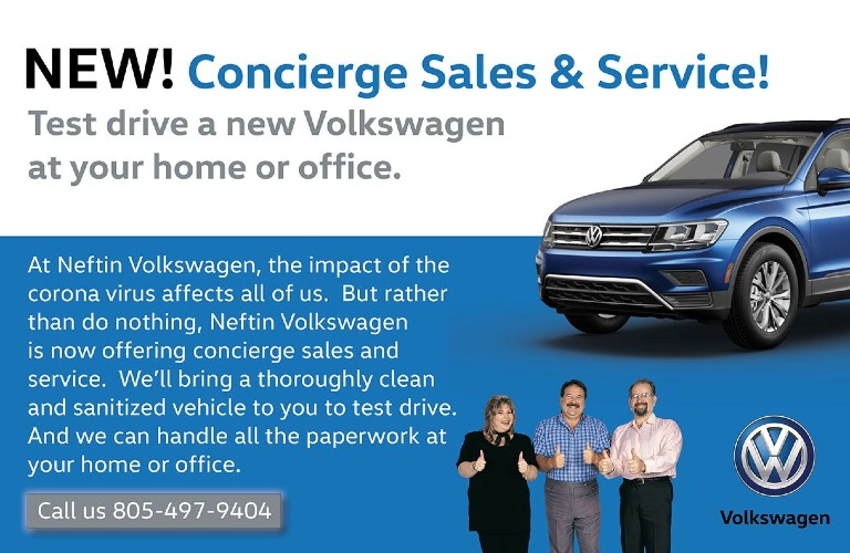 A landing page image of the New Concierge Sales and Service Option at Neftin Volkswagen.