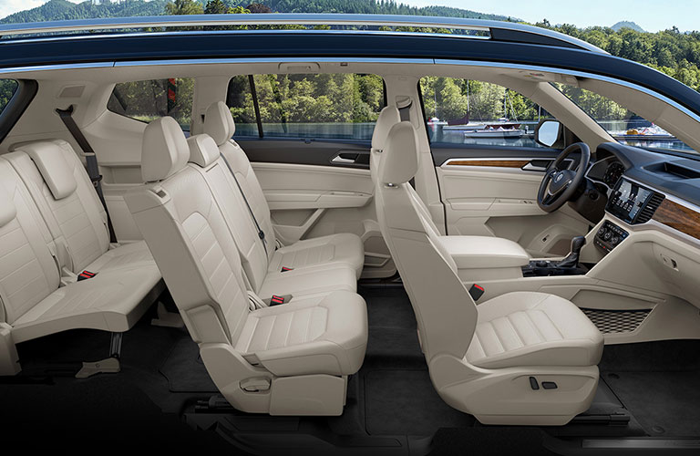 An interior side rendering of the three-row seating in a 2020 Volkswagen Atlas.