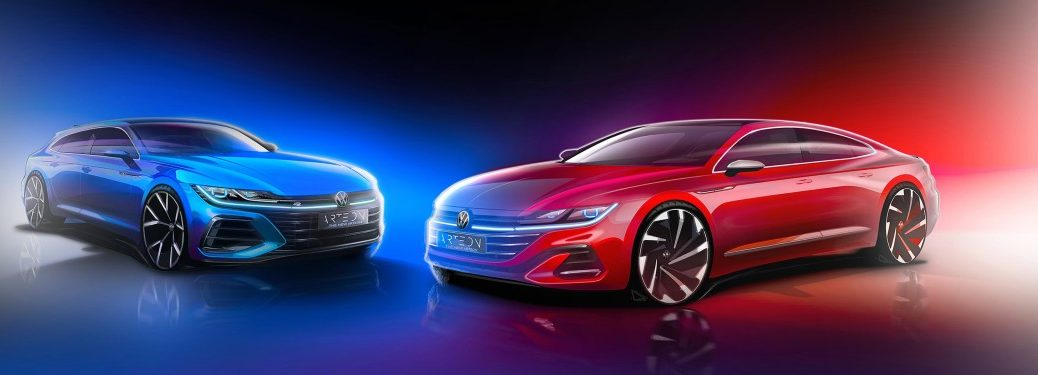 A teaser image of the 2021 Volkswagen Arteon in its two exterior styles.