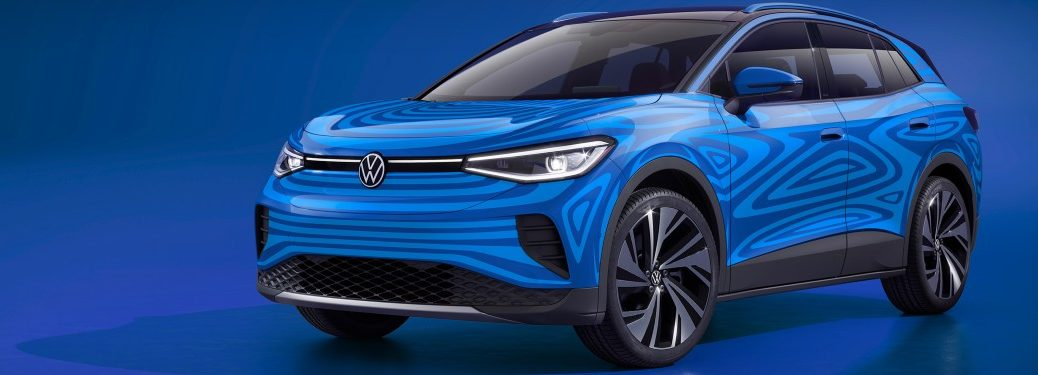 The concept image of a blue 2021 Volkswagen ID.4.