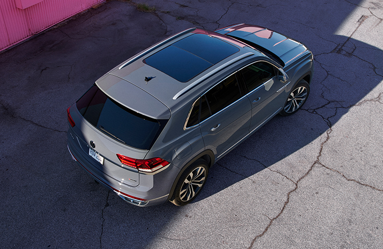 The top and rear view of a gray 2021 Volkswagen Atlas Cross Sport.