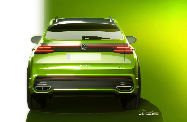The rear view drawing of a green Volkswagen Taigo.