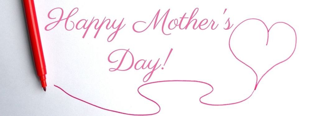 Pink Marker with Heart and Happy Mother's Day Text on a White Background