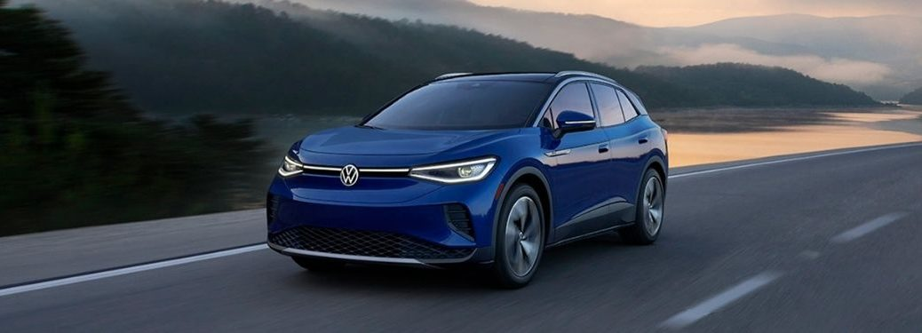Blue 2021 Volkswagen ID.4 on a Mountain Highway