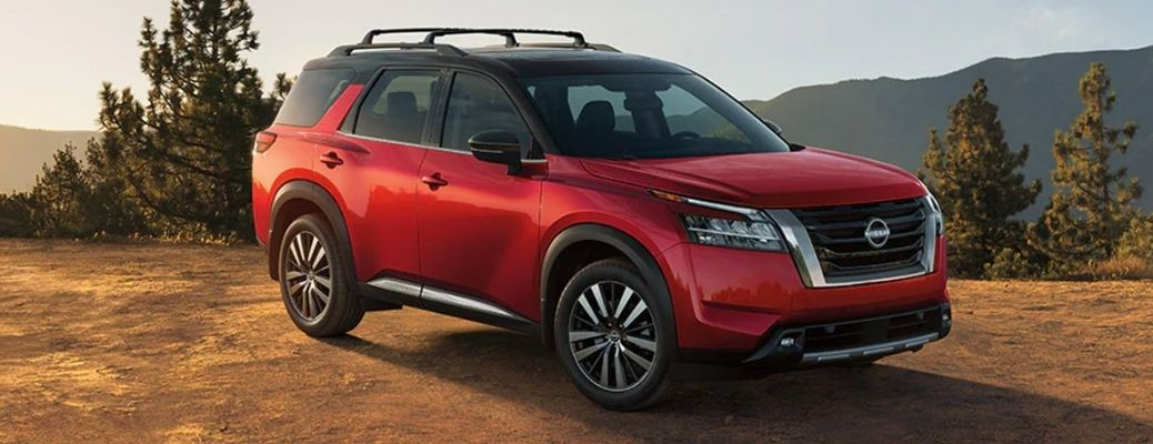 2022 Nissan Pathfinder broad view in red
