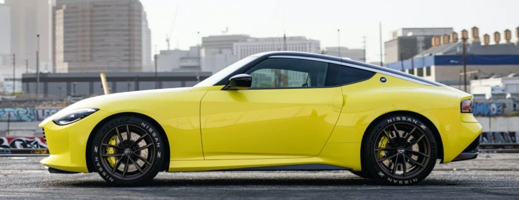 2022 Nissan Z in yellow broad image of side view