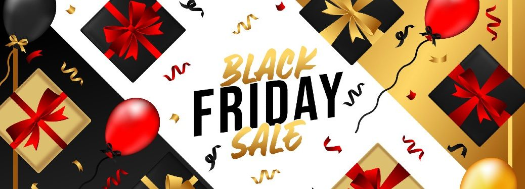 Black Friday Sale banner with present boxes tied with ribbons