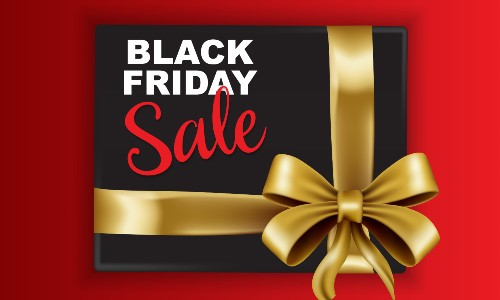 Black Friday Sale text on a black present with a gold ribbon on a red background