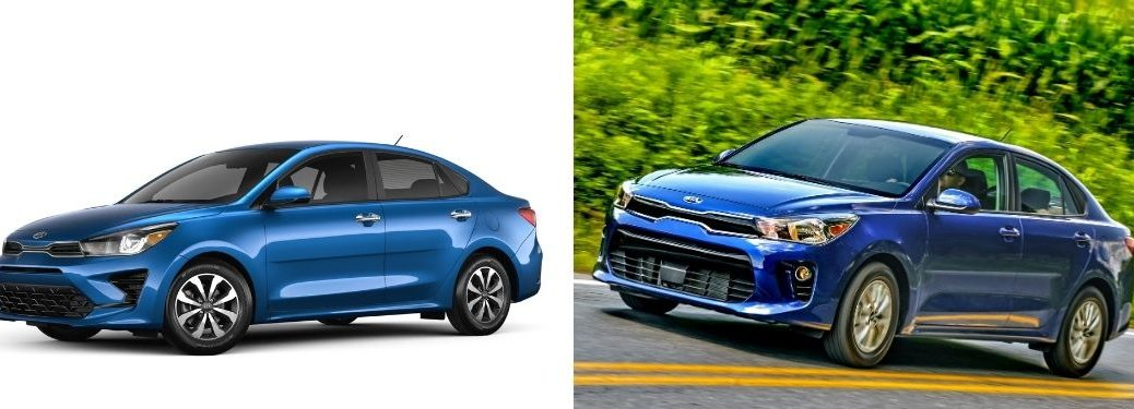 2021 Kia Rio and 2020 Kia Rio models in blue