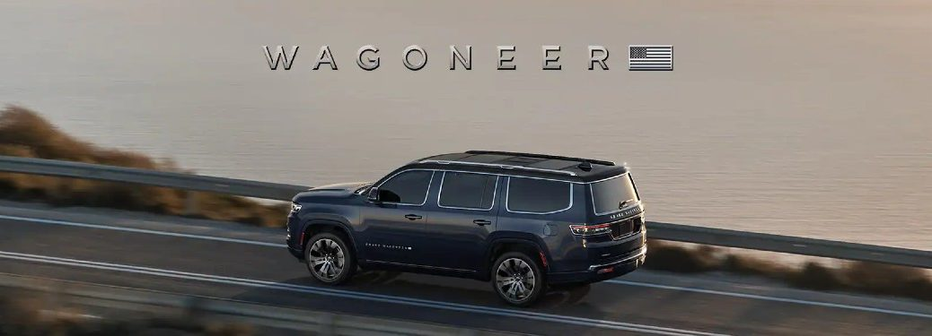 2022 Jeep Wagoneer with _Wagoneer_ text and American flag above the vehicle