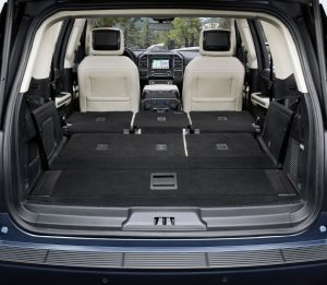 rear cargo area in a used Ford Expedition with all seats down