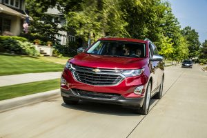 front view of a red 2018 Chevy Equinox