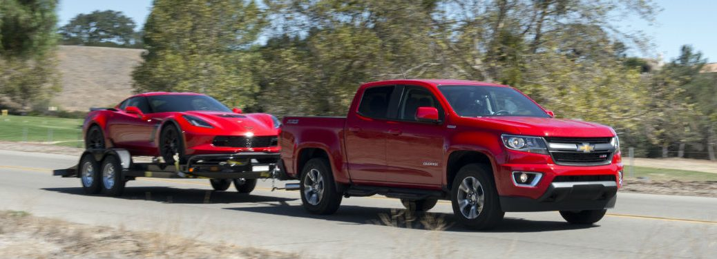 side view of a red used Chevy Colorado