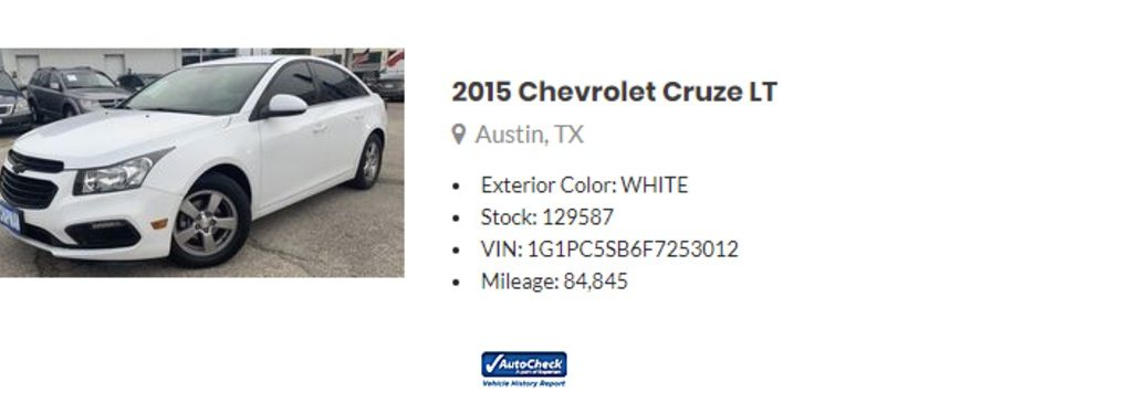 listing for a used Chevy Cruze