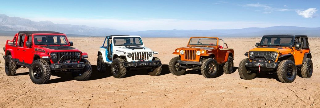 Four 2021 Easter Jeep Safari Concept Vehicles Lined Up