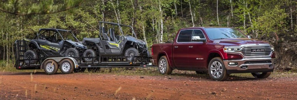 2021 RAM 1500 Exterior Passenger Side Front Profile while Towing
