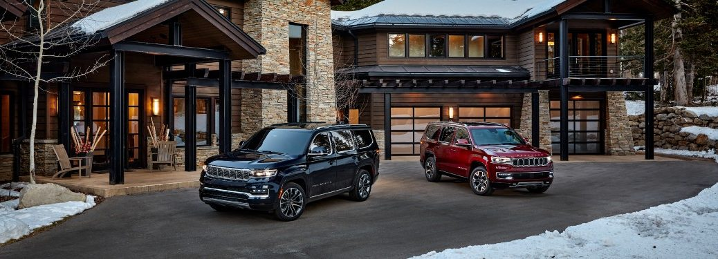 2022 Jeep Wagoneer and Grand Wagoneer next to each other