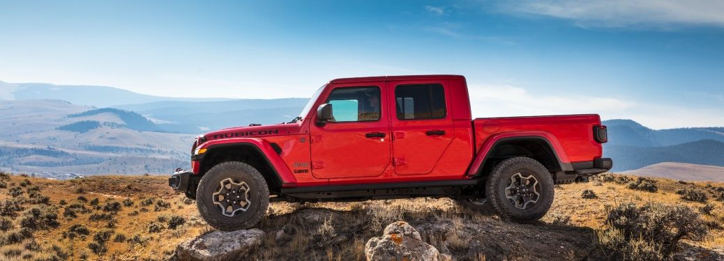 side view of a red 2021 Jeep Gladiator