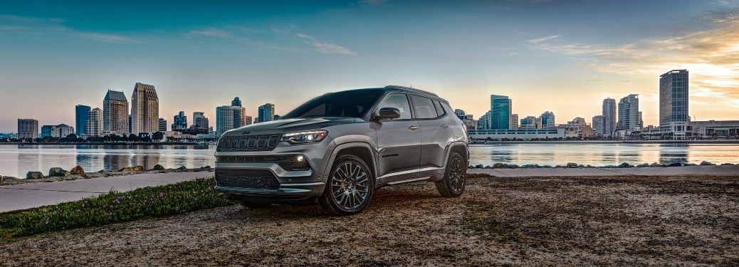 side view of a gray 2022 Jeep Compass