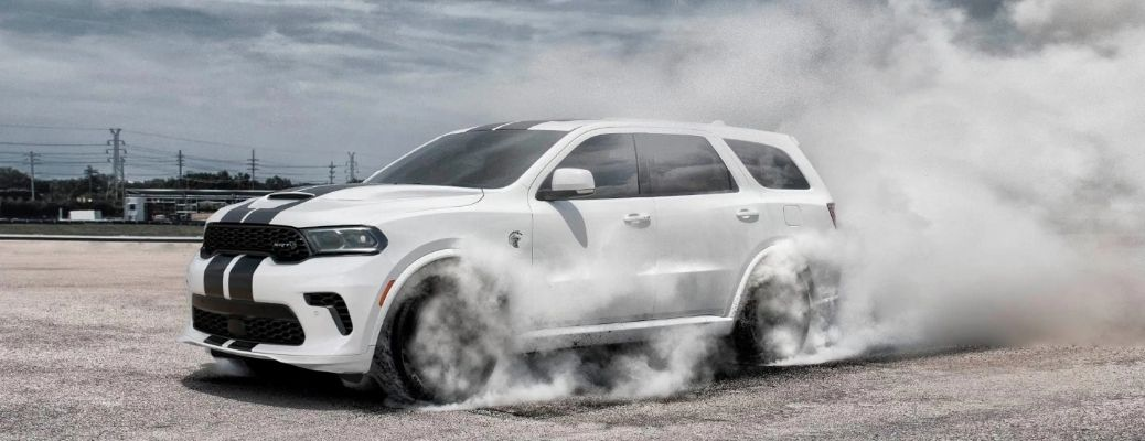 2021 Dodge Durango racing in a deserted place