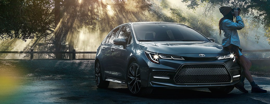 2021 Toyota Corolla gray front view in the woods