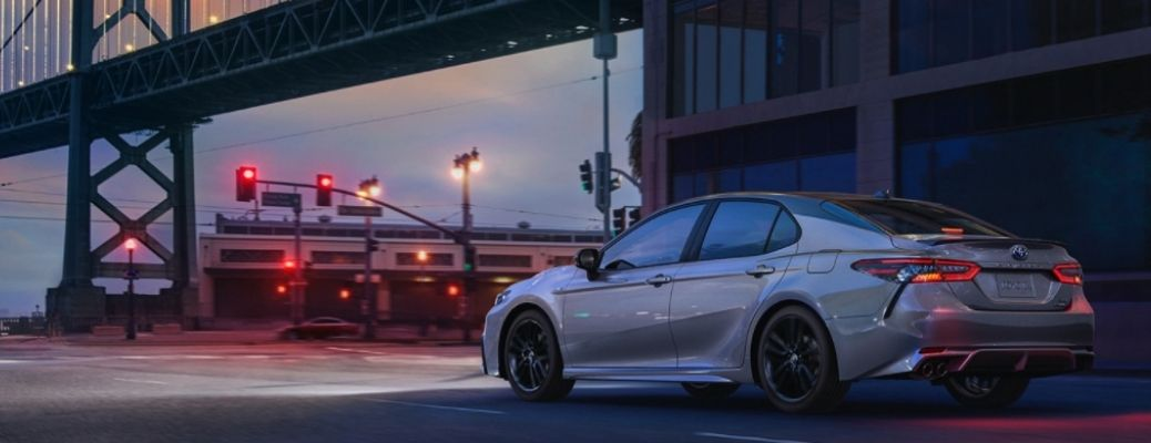 Silver 2021 Toyota Camry on a signal. Know the 2021 Toyota Camry Safety Features