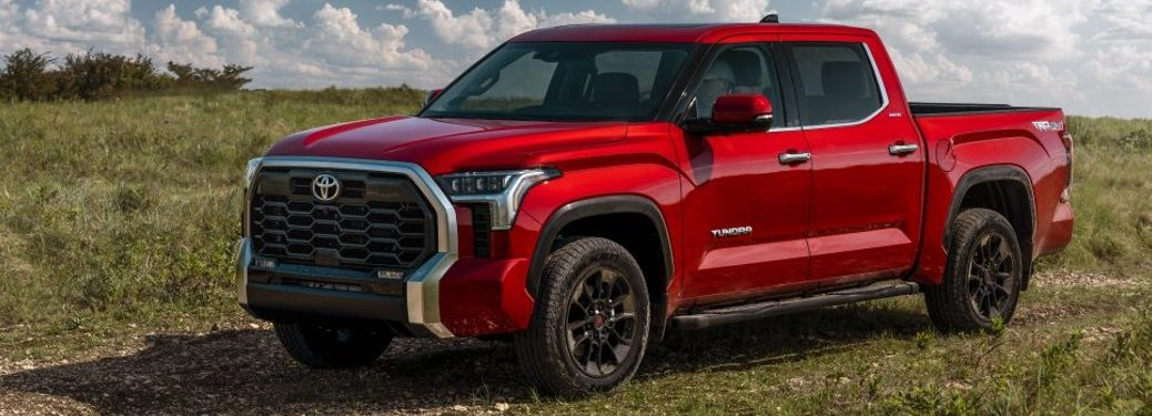 Front driver angle of a red 2022 Toyota Tundra