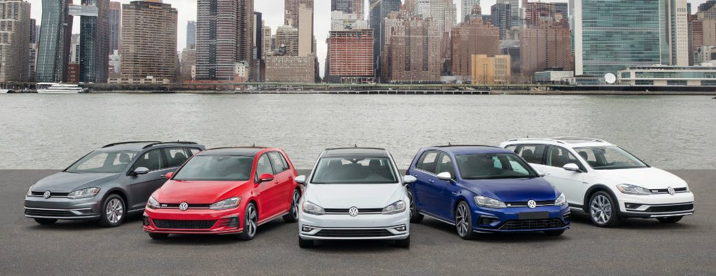 2018 Volkswagen Golf family with city background