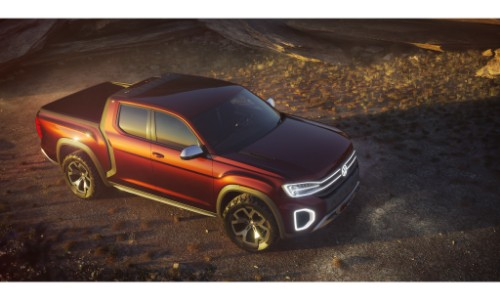 vw atlast tanoak concept pickup truck exterior overhead angle shot in the shadows of nature