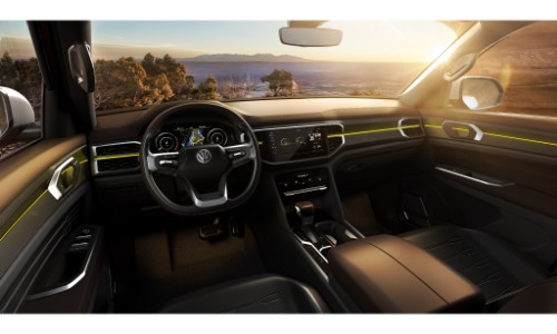 vw atlast tanoak concept pickup truck interior front seating, steering wheel, dashboard, and transmission