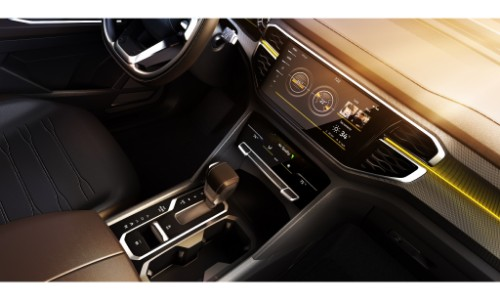 vw atlast tanoak concept pickup truck interior close up of dashboard onscreen infotainment system