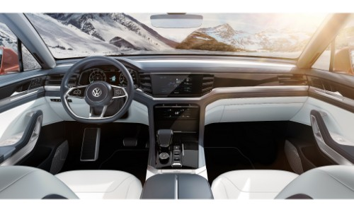 Volkswagen Atlas Cross Sport Concept SUV new york international auto show interior drivers view front seating upholstery, dashboard, and steering wheel