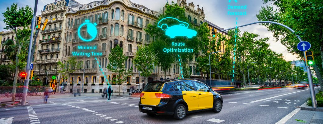 Volkswagen Traffic Management Quantum Computing technology used and developed for taxi companies on display in a european city cross walk traffic light section