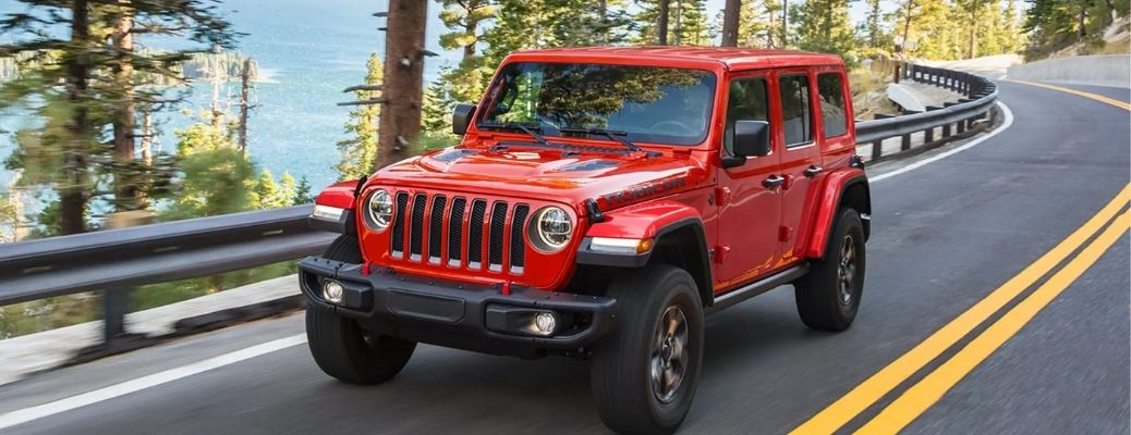 2021 Jeep Wrangler travelling in a lane