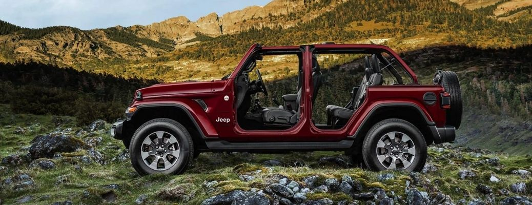 2021 Jeep Wrangle without doors parked in the forest