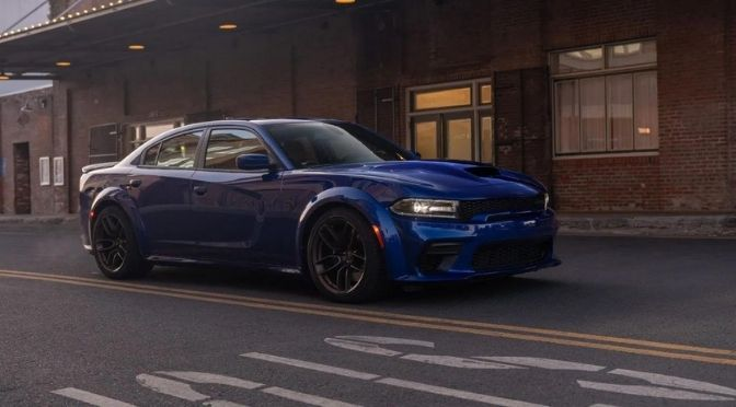 2021 Dodge Charger Front Right-Quarter View Parked Next to a Go-down.