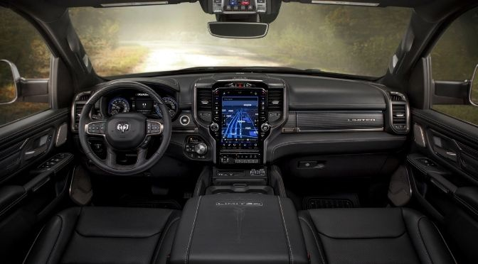 RAM's infotainment system whole view along with Steering Wheel and Center Console